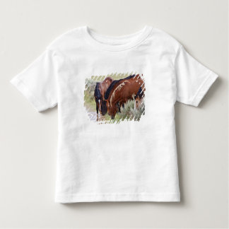 Feral Horse Equus caballus) herd drinking in Toddler T-shirt