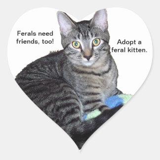 """""""Ferals need friends"""" kitten heart stickers"""
