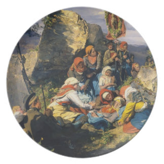 Ferdinand Georg Waldmüller- The sick pilgrim Dinner Plates