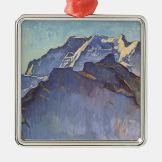 Ferdinand Hodler- Jungfrau massif and Schwarzmonch Square Metal Christmas Ornament