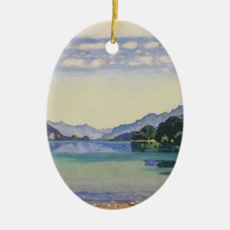 Ferdinand Hodler- Lake Thun from Lessig Double-Sided Oval Ceramic Christmas Ornament