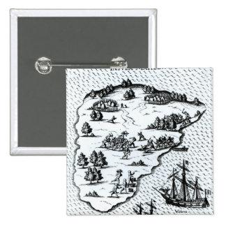 Ferdinand Magellan  Fighting Natives on Island 2 Inch Square Button