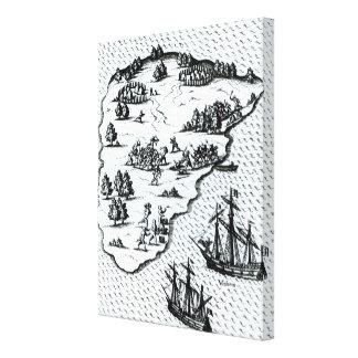 Ferdinand Magellan  Fighting Natives on Island Canvas Print