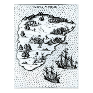 Ferdinand Magellan  Fighting Natives on Island Postcard