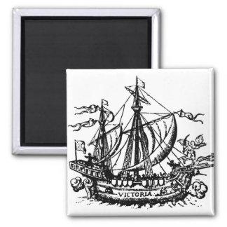Ferdinand Magellan's boat 'Victoria' 2 Inch Square Magnet