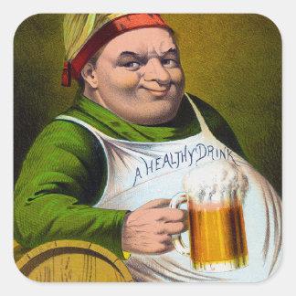Féretro 1879 de la cerveza dorada del vintage en pegatina cuadrada