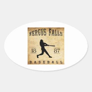 Fergus 1887 se cae béisbol de Minnesota Pegatina Ovalada
