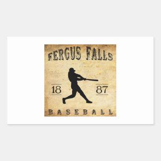 Fergus 1887 se cae béisbol de Minnesota Pegatina Rectangular