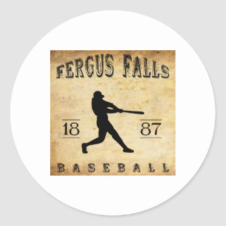 Fergus 1887 se cae béisbol de Minnesota Pegatina Redonda