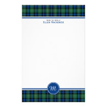Ferguson Clan Tartan Blue and Green Monogram Stationery