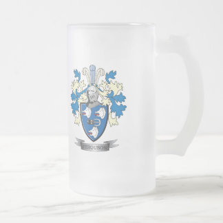 Ferguson Family Crest Coat of Arms Frosted Glass Beer Mug