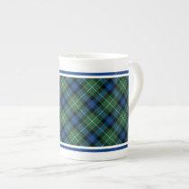 Ferguson Family Tartan Green and Royal Blue Plaid Tea Cup