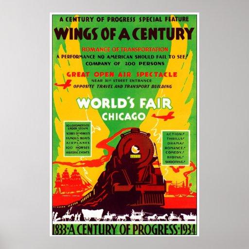 Feria 1934 de mundos de Chicago en tren Póster