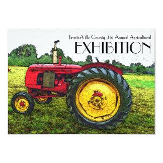 """Feria agrícola, tirón del tractor, exposición invitación 5"""" x 7"""""""