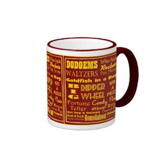 Feria de diversión británica nostálgica tazas de café