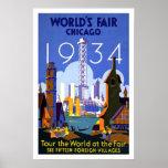 Feria de mundos del Poster-Vintage Chicago 1934