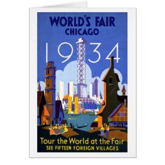 Feria de mundos del vintage Chicago 1934 Felicitación