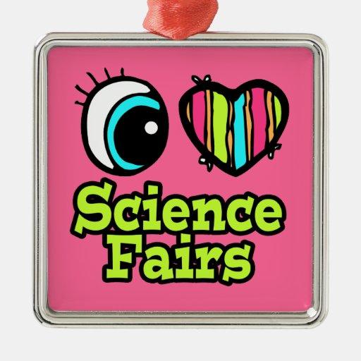 Ferias de ciencia brillantes del amor del corazón adorno navideño cuadrado de metal