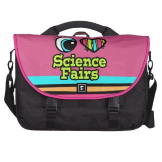 Ferias de ciencia brillantes del amor del corazón  bolsas para ordenador