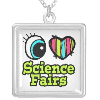 Ferias de ciencia brillantes del amor del corazón  colgante cuadrado