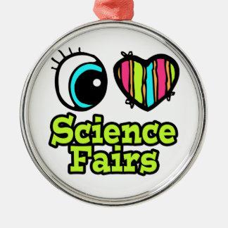 Ferias de ciencia brillantes del amor del corazón adorno redondo plateado