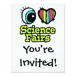 """Ferias de ciencia brillantes del amor del corazón invitación 4.25"""" x 5.5"""""""