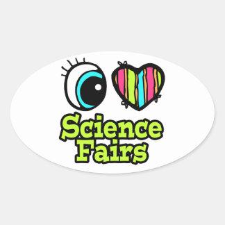 Ferias de ciencia brillantes del amor del corazón calcomanías ovales personalizadas