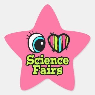 Ferias de ciencia brillantes del amor del corazón pegatina forma de estrella