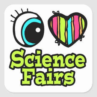 Ferias de ciencia brillantes del amor del corazón calcomania cuadradas personalizadas