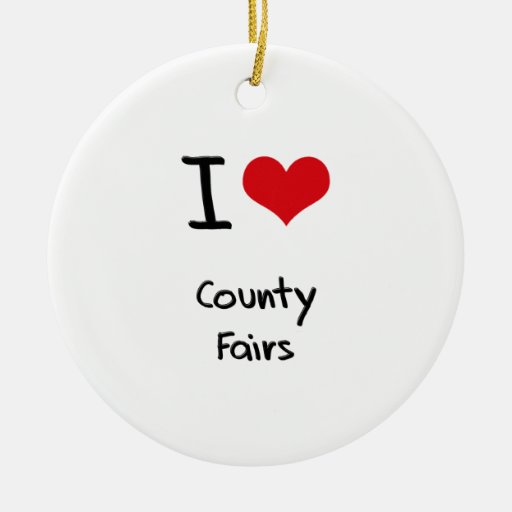 Ferias de I el condado de Love Adorno Navideño Redondo De Cerámica
