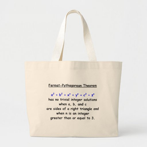 Fermat-Pythagorean Silly Theorem Tote Bags