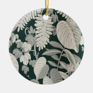 Fern and Leaf wallpaper, c. 1950 Double-Sided Ceramic Round Christmas Ornament