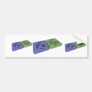 Fern as Iron Fe and Radon Rn Bumper Sticker
