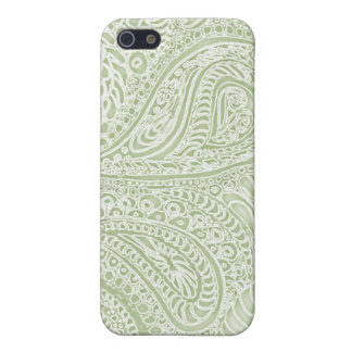 Fern batik paisley iphone case pale green