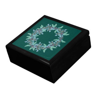 Fern Clematis Flowers Floral Wreath Tile Gift Box