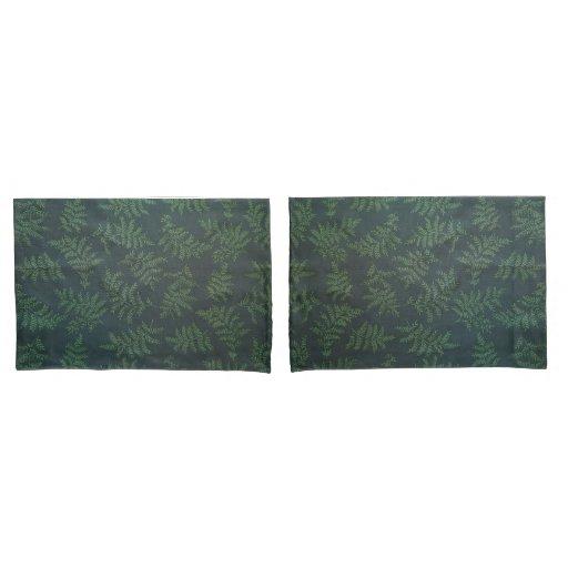Fern design on green pillow case