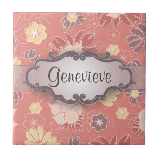 Fern Floral on Pink with Nameplate Ceramic Tile