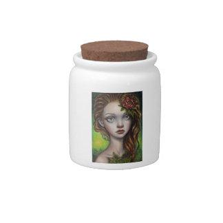 Fern Flower Candy Jar