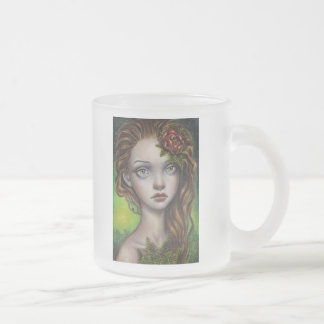 Fern Flower Frosted Glass Coffee Mug