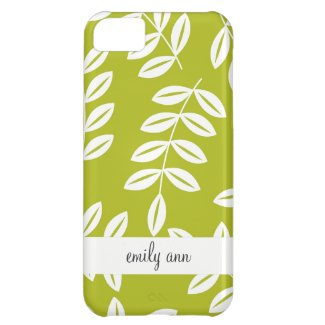 Fern Foliage on Olive Green Pattern iPhone 5C Case
