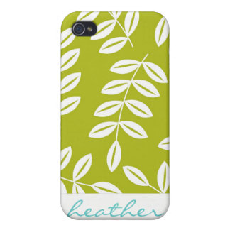 Fern Foliage on Olive Green Pattern Covers For iPhone 4