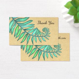 Fern Frond Botanical Ferns Palm Beige Leaf Business Card
