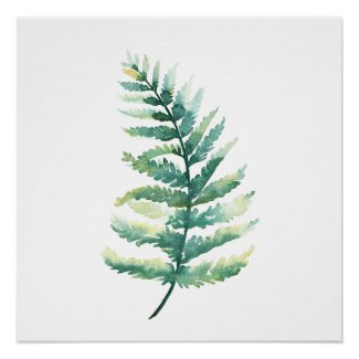 Fern Frond Botanical Watercolor Poster Print