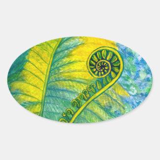 Fern Frond Oval Sticker