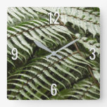 Fern Fronds I Green Nature Square Wall Clock