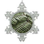 Fern Fronds II Dark Green Nature Snowflake Pewter Christmas Ornament