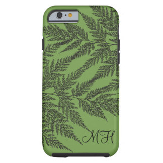 Fern Fronds Silhouette Monogrammed Tough iPhone 6 Case