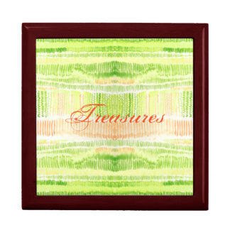 Fern-Green and yellow lines watercolor Trinket Boxes