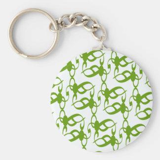 Fern Green Lace Basic Round Button Keychain