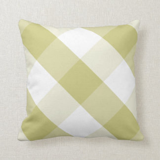 Fern Green & White Reversible Gingham Check Plaid Throw Pillow
